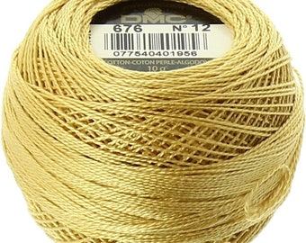 DMC 676 Perle Cotton Thread | Size 12 | Light Old Gold