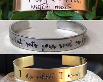"""Custom/Personalized 3/8"""" cuff - Nu-Gold, Copper or Aluminum"""