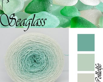 Seaglass* Merino silk Gradient Yarn hand dyed - Lace weight