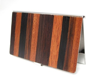 Mixed Dark Exotic Wood Business Card Case