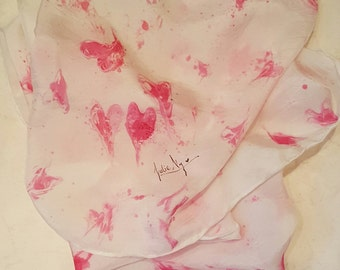 Lovely Hearts Hand Printed Silk Scarf