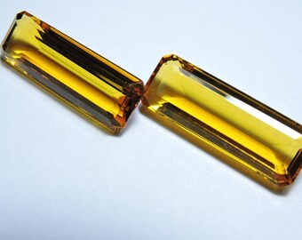 2 Pieces Beautiful Citine Quartz Faceted Baguettes Briolette Loose Gemstone Size 30X10 MM