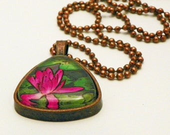 Water Lily Floral Pendant Glass Tile Photo Necklace GT129