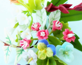 Miniature Polymer Clay Flowers Bouquet, Pansy, Supplies for Dollhouse and Handmade Gifts 1 Bunch