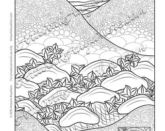 "Japanese Blossoms ""Hilly Star Leaves and Stones"" Adult coloring page printable download from Artwork Anywhere ~hand drawn digital stamp art~"