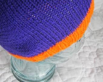 Knitted, Purple Hat with Orange Trim