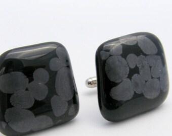 ORGANIC BLACK - Fused Glass Cuff Links