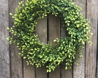 Faux Boxwood Wreath | Boxwood Wreath | Farmhouse Wreath | Fixer Upper Style | Farmhouse Style Faux Greenery Wreath