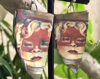 Face Earrings, Ceramic Earrings