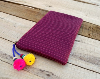 Plum pouch, zipper purse, make up or cosmetic bag, utility pouch, quilted polysilk, bohemian