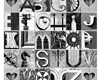 Alphabet Print - ABCs Photo Letter Art From Architectural Details - 12x12