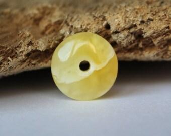 Small donut pendant amber doughnut amber charm natural Baltic amber round shape amber bead little gemstone doughnut amber amulet 1.1g