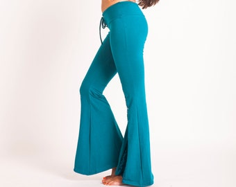 Bell Bottoms Yoga Pants Yoga Leggings Boho Pants Hippie Pants Tribal Fusion Hippie Clothes Wide Leg Pants Lace Applique Wanderlust Gift