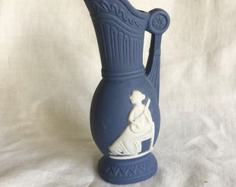 Blue White Small Vase Pitcher Woman Sitting Playing Instrument