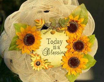 Today is a Blessing wreath, Fall, pumpkin, thanksgiving, sunflower