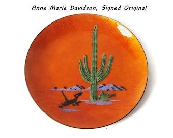 Vintage Annemarie Davidson Signed Enamel Original Plate/ Hand Painted Mid Century Rust Collectible Sierra Madre Decorative Plate