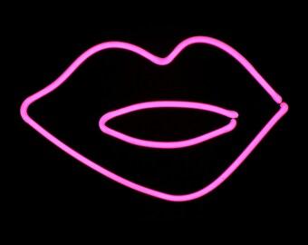 Hot Pink Lips Neon Freestanding Tabletop Art Sculpture Modern Design