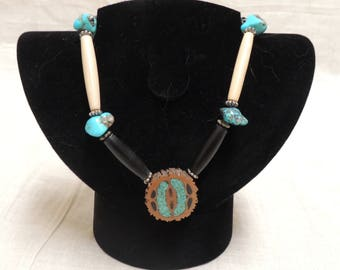Genuine turquoise nugget bone /horn bead walnut inlaid choker necklace
