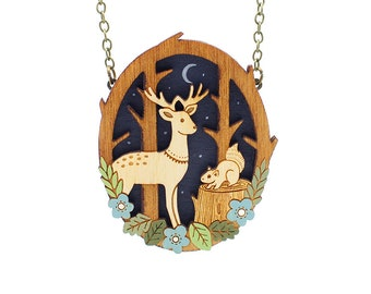 Moonlit forest necklace ~ hand painted laser cut necklace