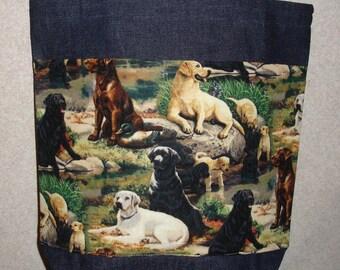 New Medium Handmade Labrador Retriever Labs all Over Denim Tote Bag