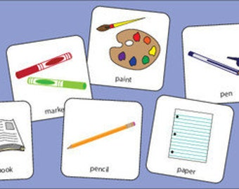School Items Picture Cards