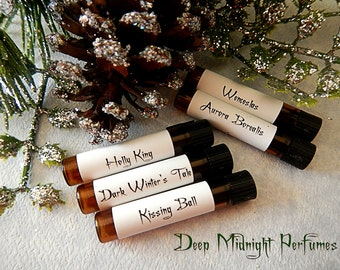 Christmas Dark & Light: Perfume Sample Set of Five Vials, Christmas Perfume, Holiday Perfume, Winter Fragrance