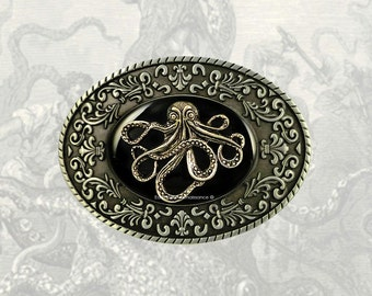 Octopus Belt Buckle Inlaid in Hand Painted Black Onyx Enamel with Intricate Brocade Etchings Kraken Oval Metal Buckle with Color Options