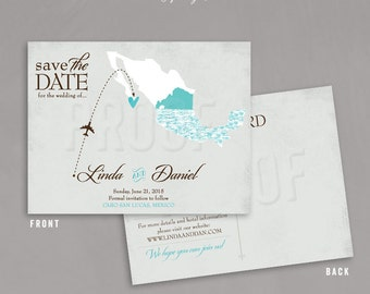 Mexico Save the Date, Destination Wedding Save the Date, El Arco Wedding Save the Dates, Map Save the Date