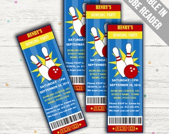 Bowling Party Invitations. Editable PDF. Printable. Instant Download.