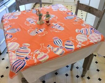 Vintage Tablecloth Dancing Fiesta Pottery Bright & Colorful Mexican Kitchen Retro Fun