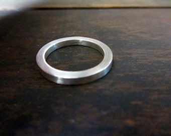Sterling silver sqare ring , Handmade sterling silver modern band ring