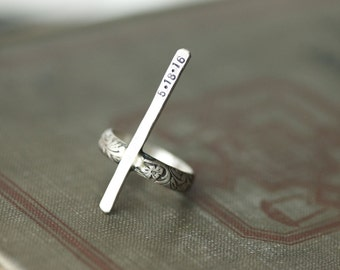 Bar Ring with Floral Band - Stamped - Sterling Silver - Antique Finish - Made to Order - Customizable