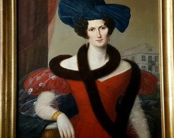 Antique Oil Portrait of a Young Woman 19th Century German School