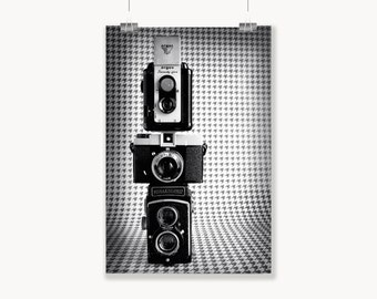 Dapper  Fine Art Print--Handsome Vintage Houndstooth Cameras Masculine Black and White Mid Century Mad Men 60s Mod Home Decor Wholesale