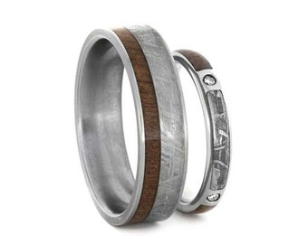 Womens Diamond Wedding Band With Matching Men's Ring, Titanium Rings With Ipe Wood And Meteorite