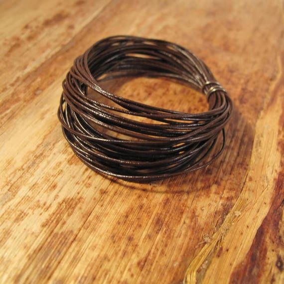 15 Feet of Natural Brown Leather Cord, 5 Yard Spool of .5mm Round Cord For Jewelry, Craft Supplies, Delicate Brown Leather (L-Mix33a)