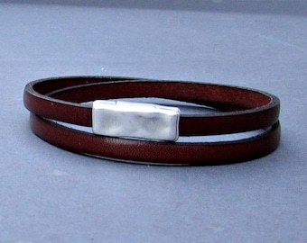 NEW DESIGN Hammered Leather Bracelet Leather Double Wrap Bracelet Cuff Brown Black Silver Plated Magnetic Clasp Customized On Your Wrist