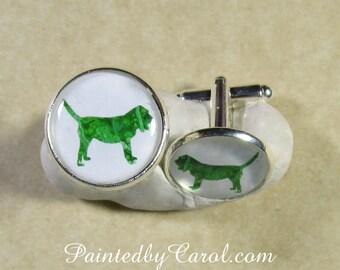 Bloodhound Cufflinks, Bloodhound Dad Gifts, Bloodhound Accessories, Bloodhound Gifts, Gifts with Bloodhound, Bloodhound Jewelry