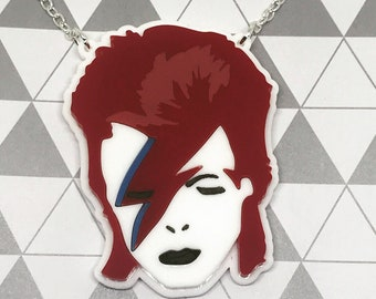 Ziggy Stardust Laser Cut Necklace - Acrylic jewellery - Music Icon - Bowie accessories - Plastic - Aladdin Sane