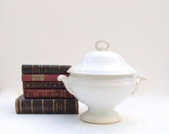 French Ironstone Tureen antique Gien late 1800's Shabby Chic Soupiére Tureen -Perfectly aged - lightly tea stained