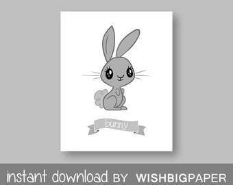 BUNNY RABBIT Nursery Decor-Instant Download.Rabbit Bedroom Art.Rabbit Nursery Art Print.Cute Bunny Print.Rabbit Wall Art.Rabbit Prin