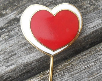 Vintage Red Enamel Heart Gold Pin. 1980s