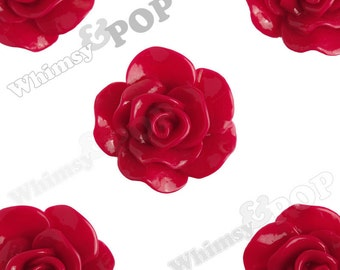 Large Fuschia Red Rose Cabochons, Flower Cabochons, Flower Cabs, Flat Back Embellishment, Rose Flatback, 30mm x 28mm (R3-062)
