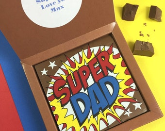 SUPERDAD gift - milk chocolate gift - optional personalised message - Father's Day gift - Chocolate for Dad - Gift for Daddy - Best Dad gift