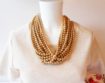 Gold Bead Necklace, Statement Necklace,10 Strand Necklace, Hollywood Glamour, Vintage Necklace