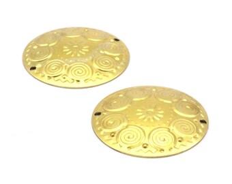 Brass Textured Charm, 10 Raw Brass Textured Charms (32mm) A0173