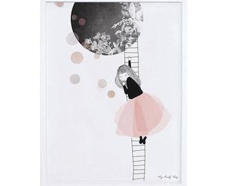 Baby Girl Nursery Art print Dreaming girl