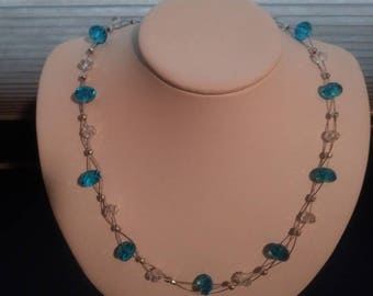 Floating Blue And Clear Crystal Necklace