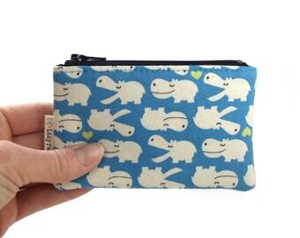 Coin Purse - Hippos - Kawaii - Zipper Coin Pouch - Cute Coin Purse - Change Wallet - Zipper Bag - Blue - Hippopotamus - Card Wallet
