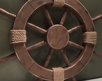 "18"" Rustic Wooden Nautical Ship Wheel, Decorative ship's wheel, Wood ship wheel, Vintage ship wheel, nautical decor, vintage beach decor 062"